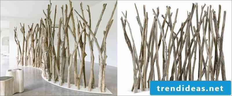 Room divider tree branch divider wood