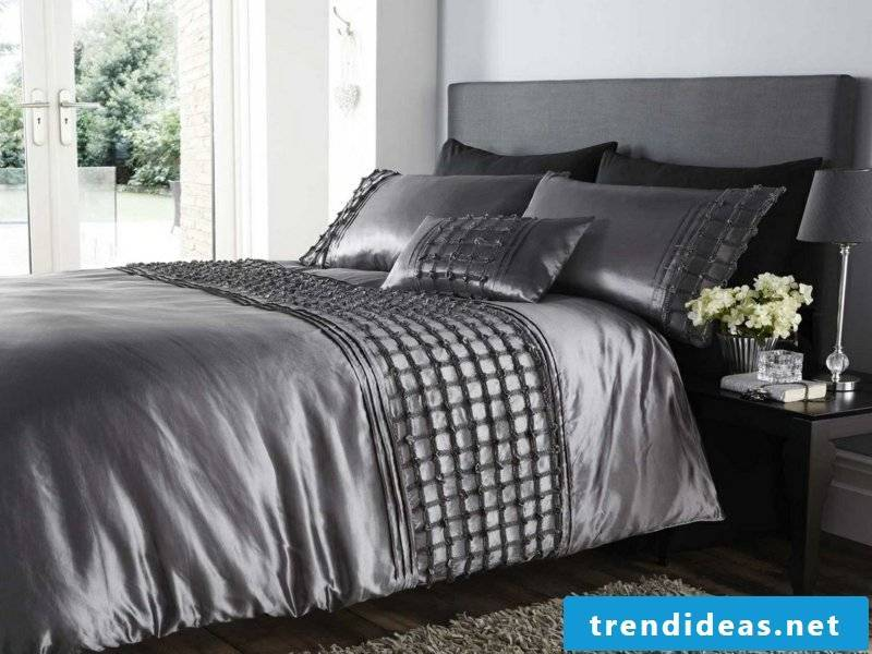 gray satin luxury bed linen