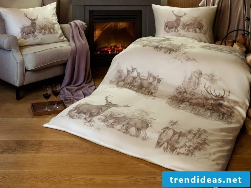 Deer on the luxurious bedding