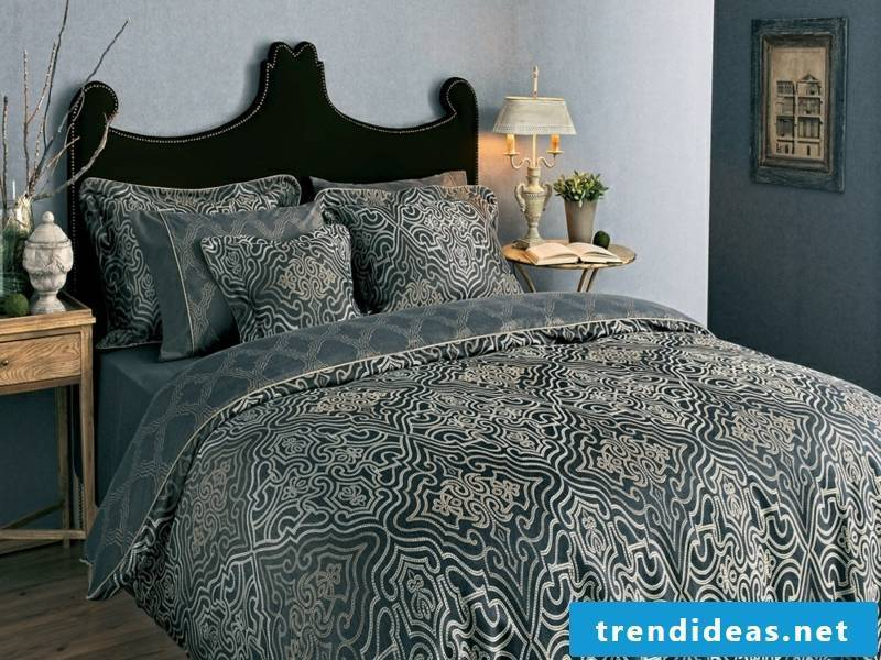 gray luxury satin bed linen
