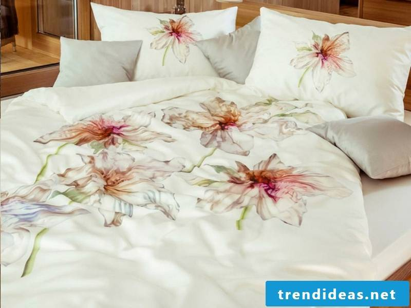 plant decoration on the luxury bed linen