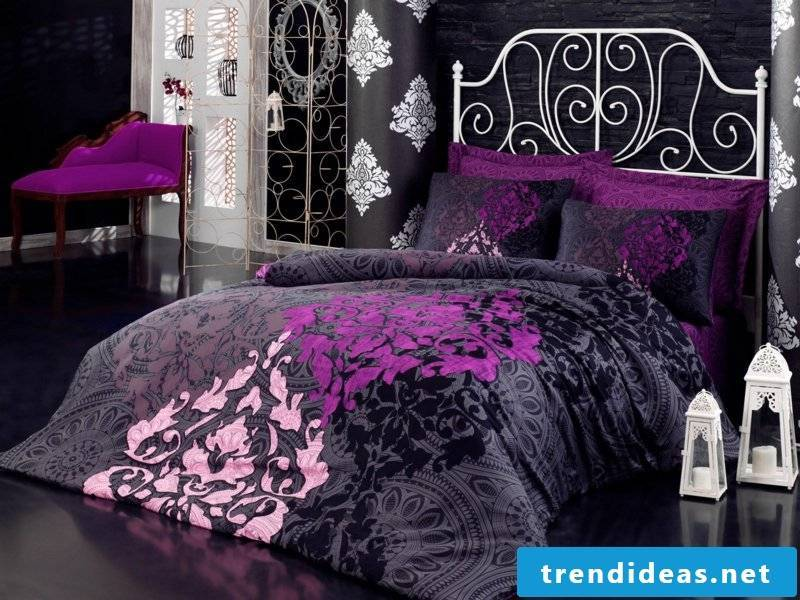 beautiful purple-gray luxury bed linen