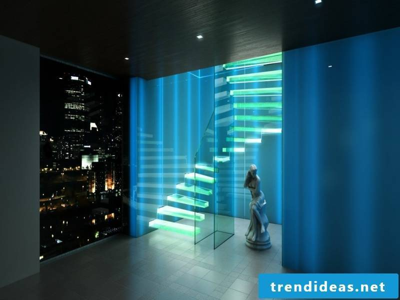 beautiful glowing stairs in the night