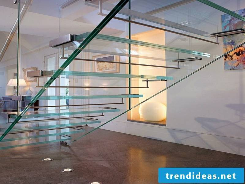 modern stairs of glass and corridor