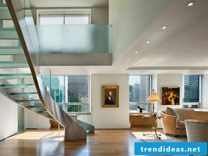 Modern glass stairs in the living room