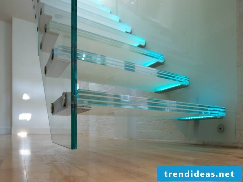 modern thick glass staircase