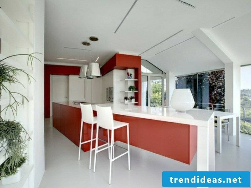 modern kitchen island in red and white
