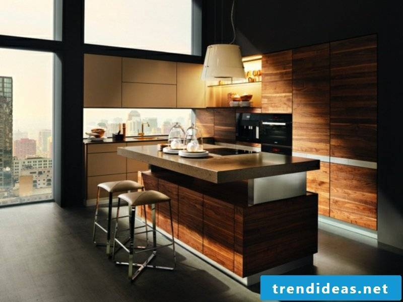 ultramodern kitchen island made of wood and granite
