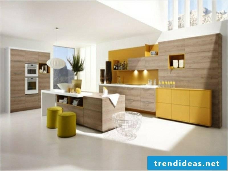 modern kitchen island and modern yellow cupboards