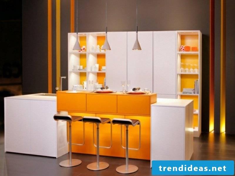 kitchen island in orange and white