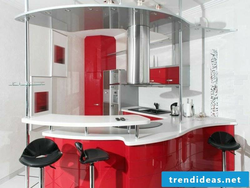 chic kitchen island in red and white