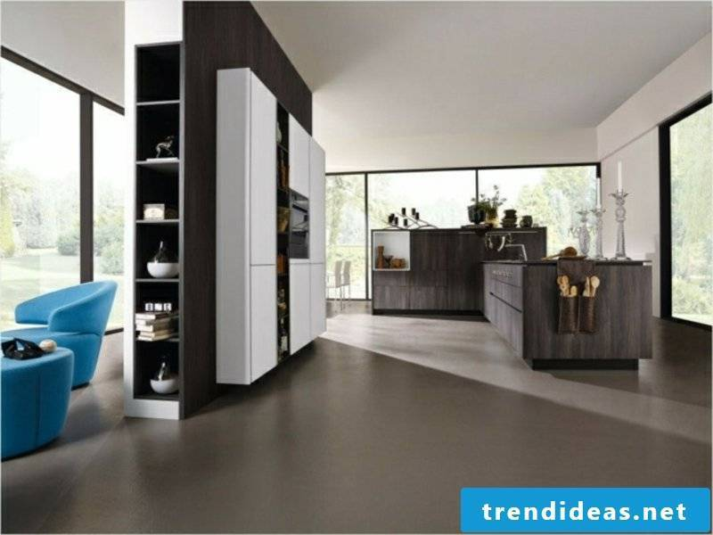 kitchen island and partition wall in the apartment