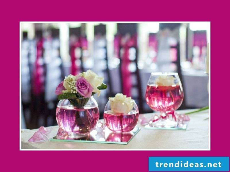 pink table decorations for wedding