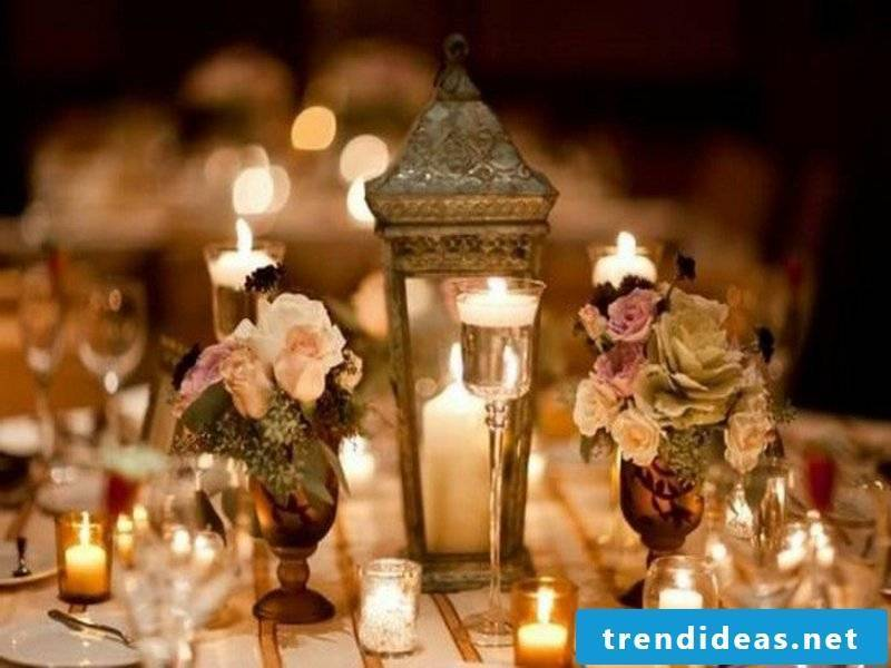 Candle accents in the table decorations