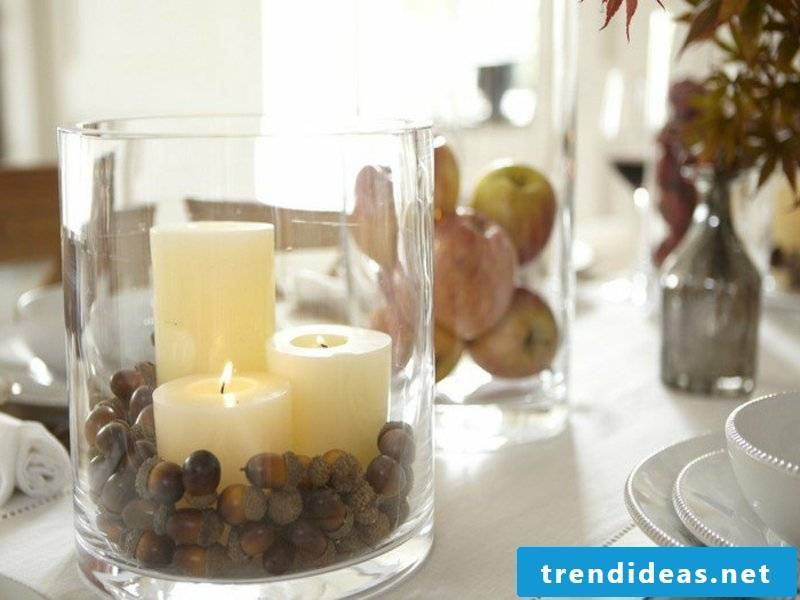 yellow candles in the glass table decorations