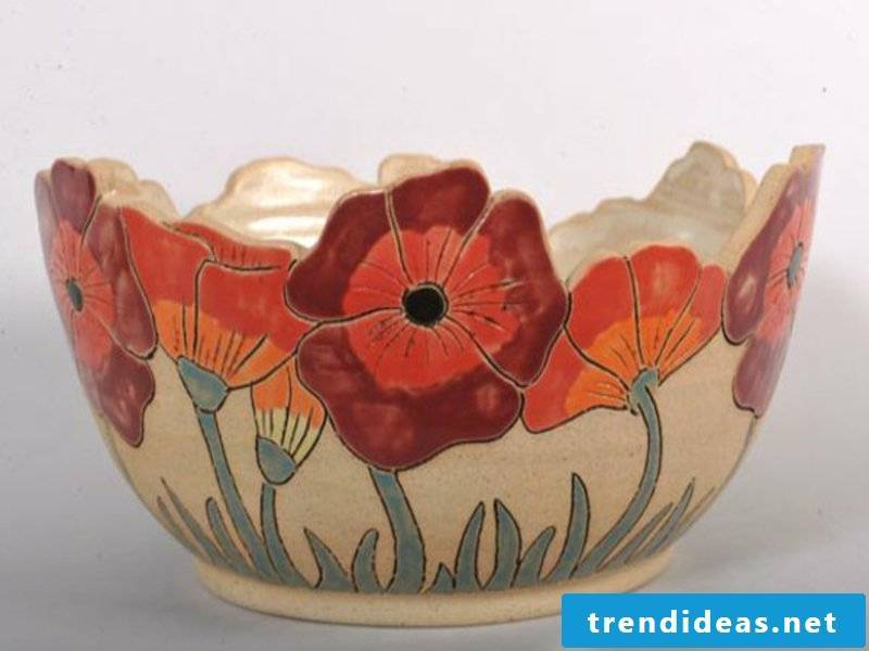 colorful fruit bowl with flowers