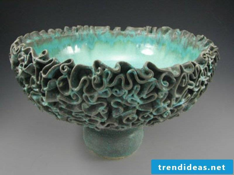 fruit bowl in turquoise color for table decorations