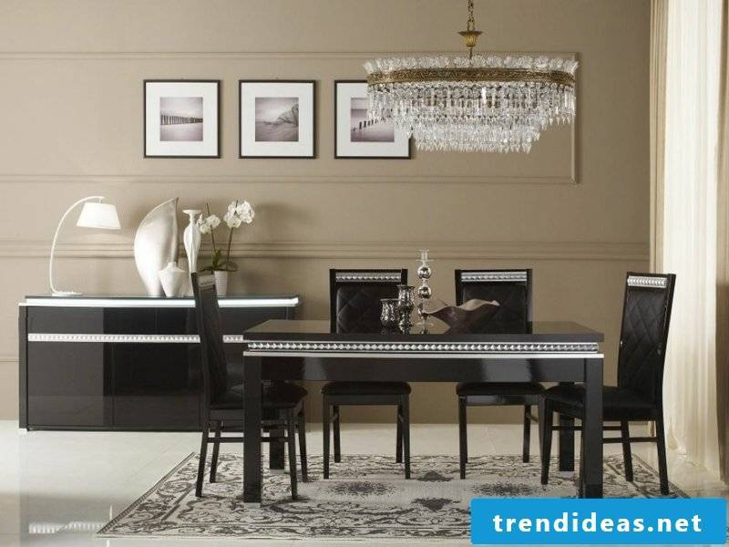 Dining room lamps and black furniture