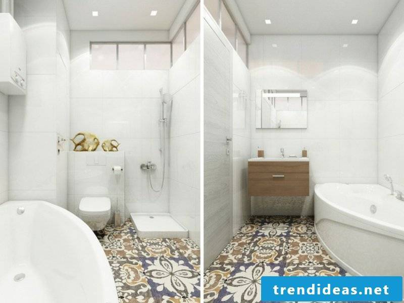 Extravagant patterned floor tiles in the traumbad