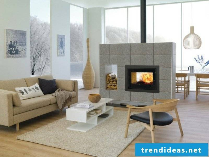 double-sided fireplace in neutral colors