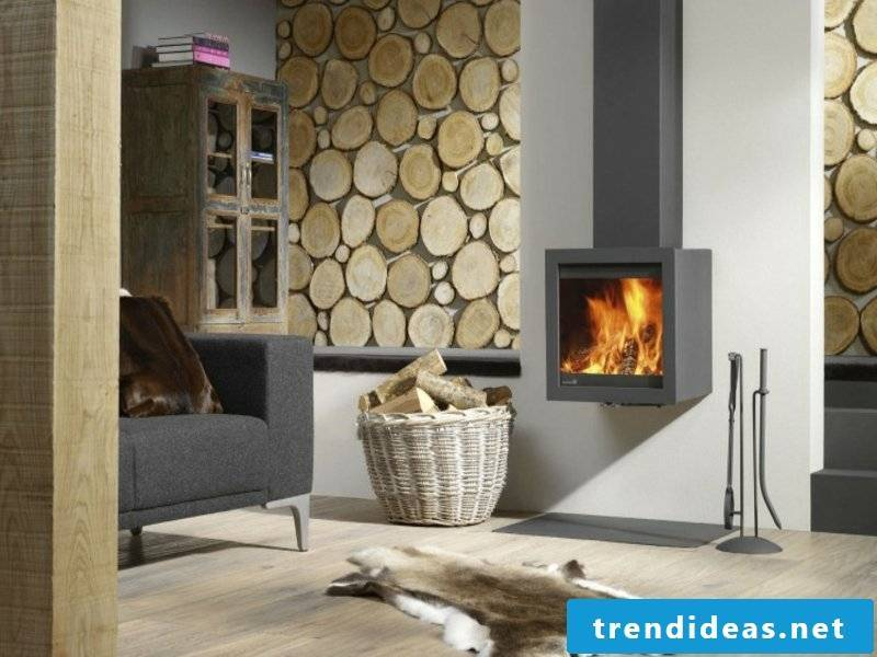Wooden windows in the wall design for modern fireplaces