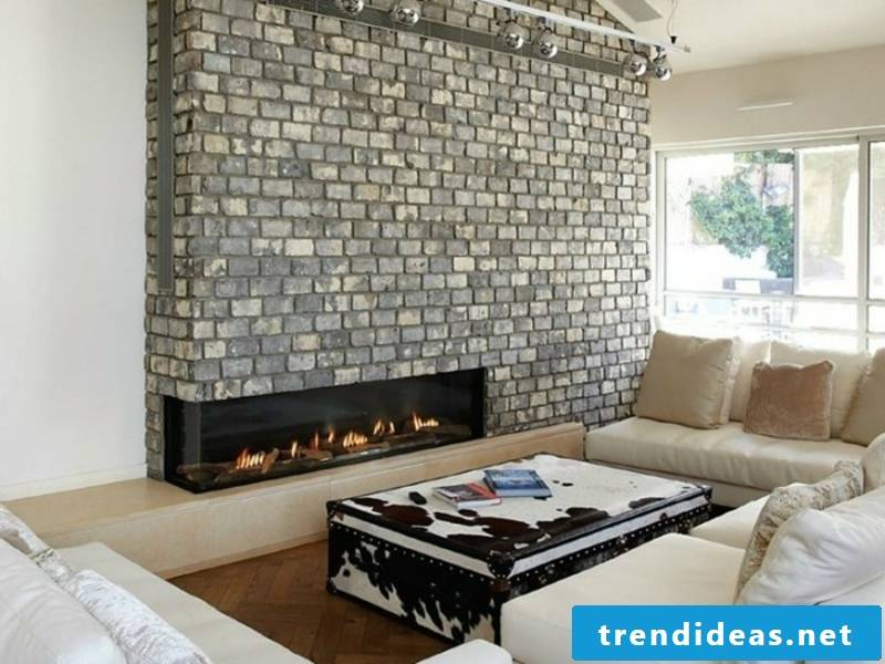built-in fireplace and brick