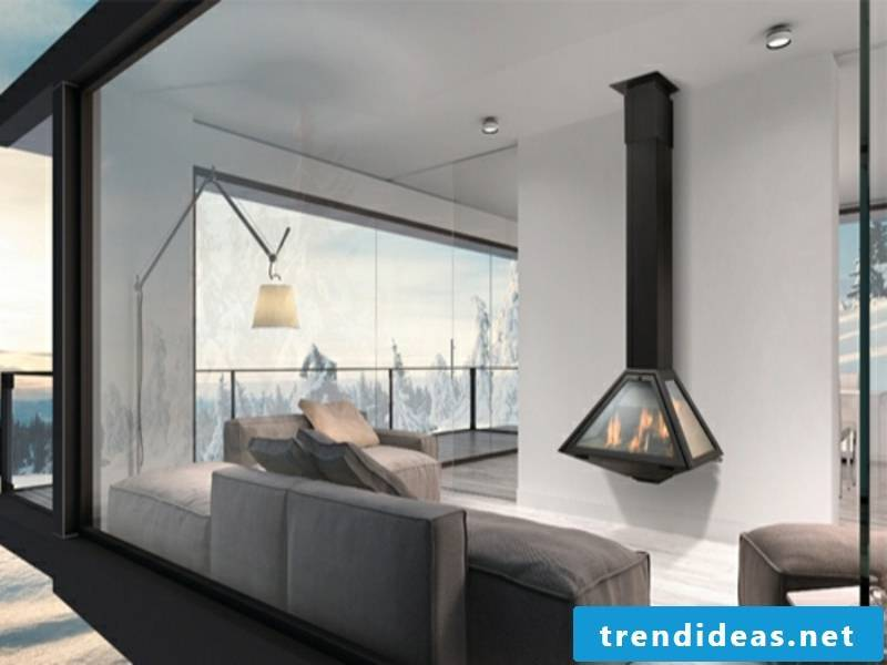 small wall-mounted fireplace in black
