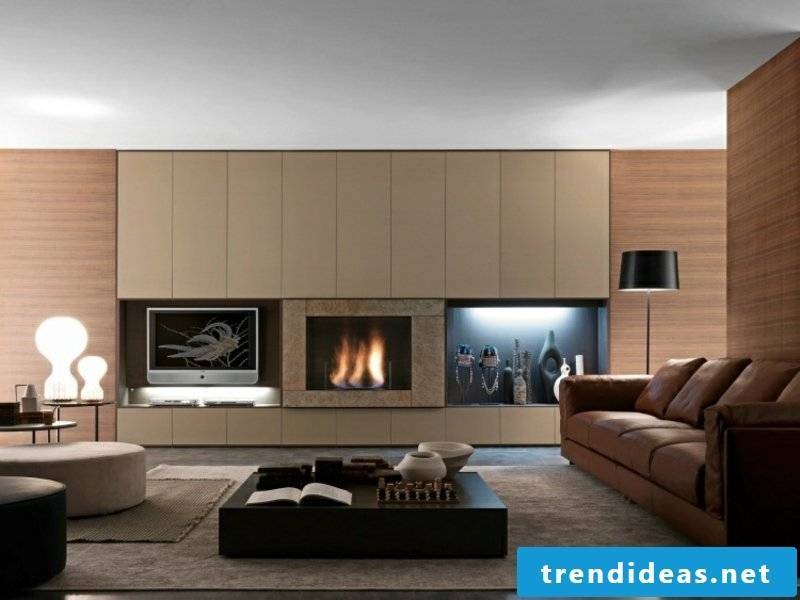 Modern fireplaces in the living room on the wall