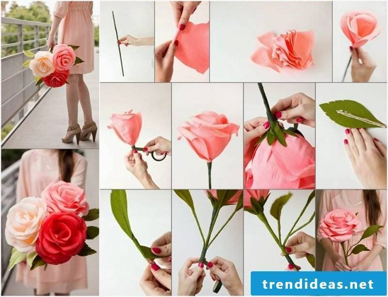 The simplest instructions for origami flower: folding paper roses