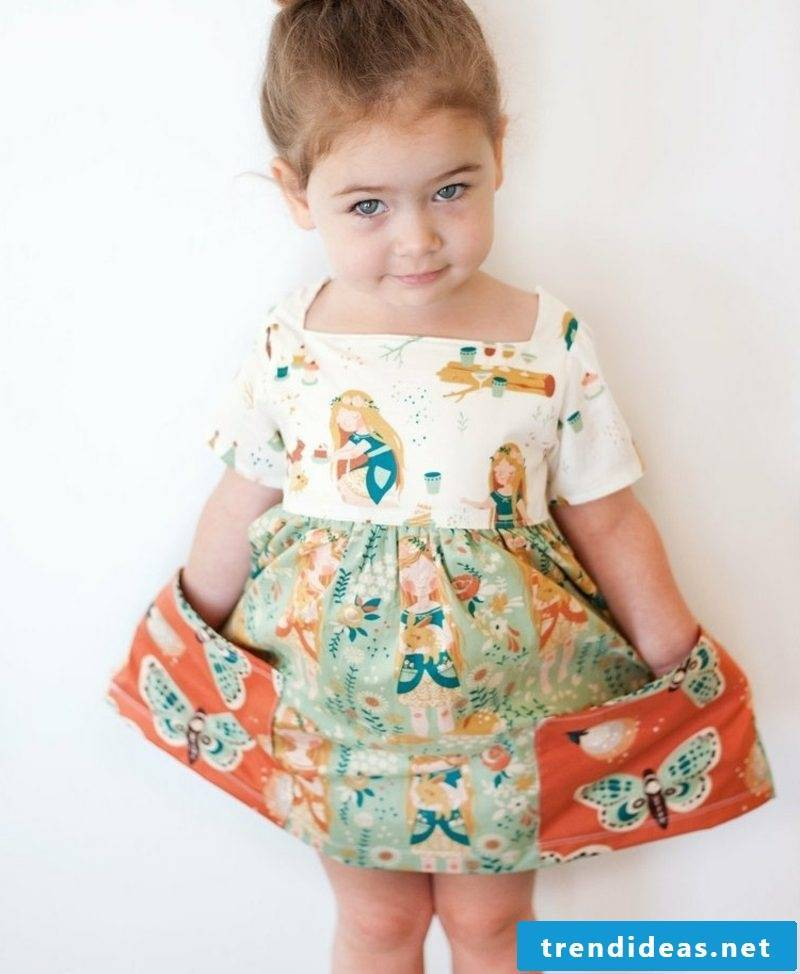 Children's clothing sew summer dress with wide pockets