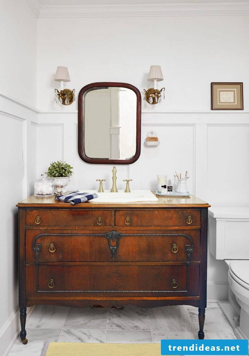bathroom ideas upcycle furniture dresser brown