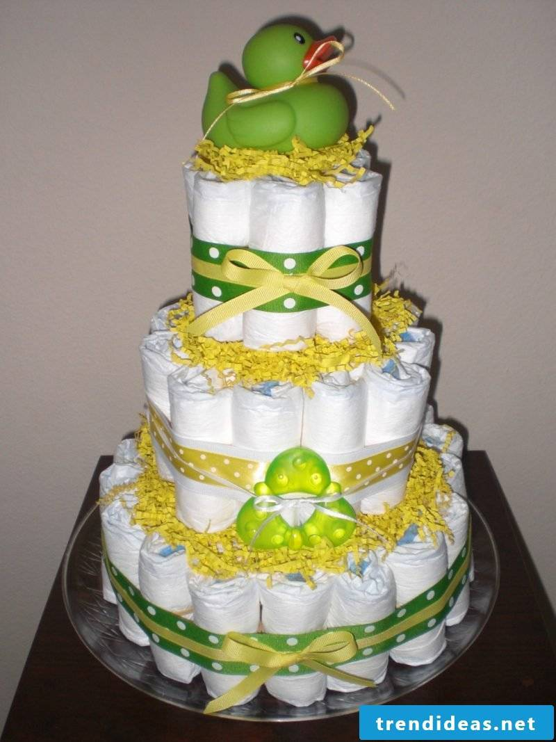 Instructions diaper cake in green