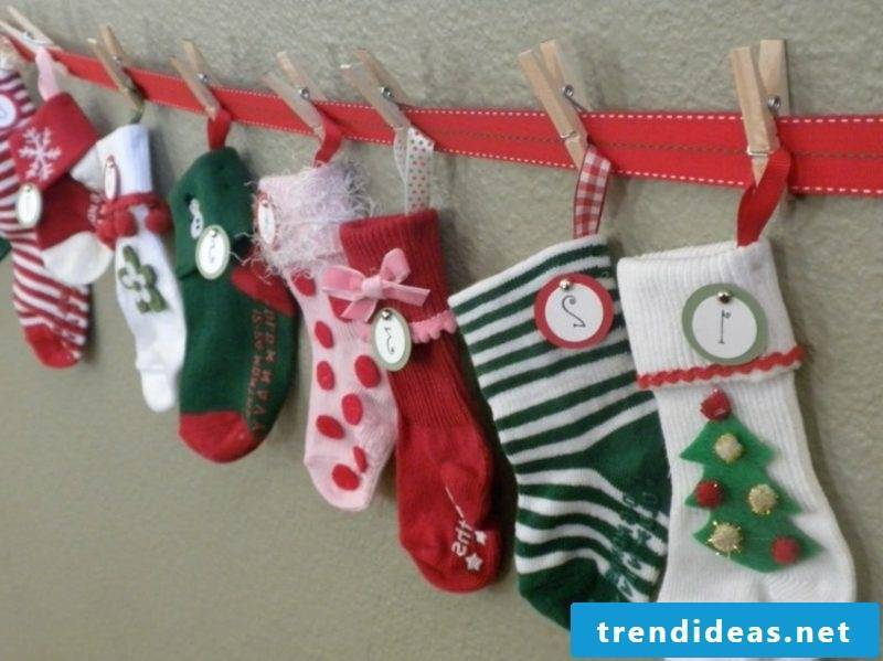 attractive advent calendar made of garland of socks