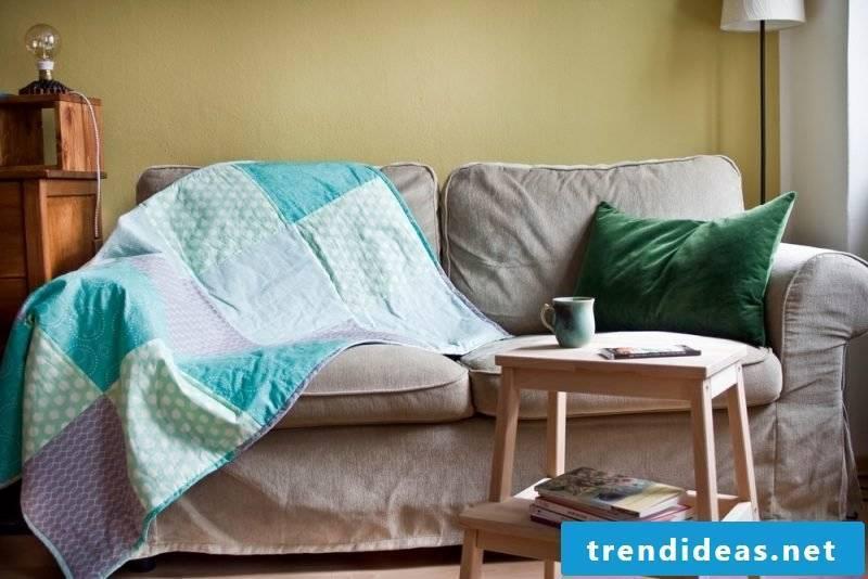 Patchwork blanket sew sofa