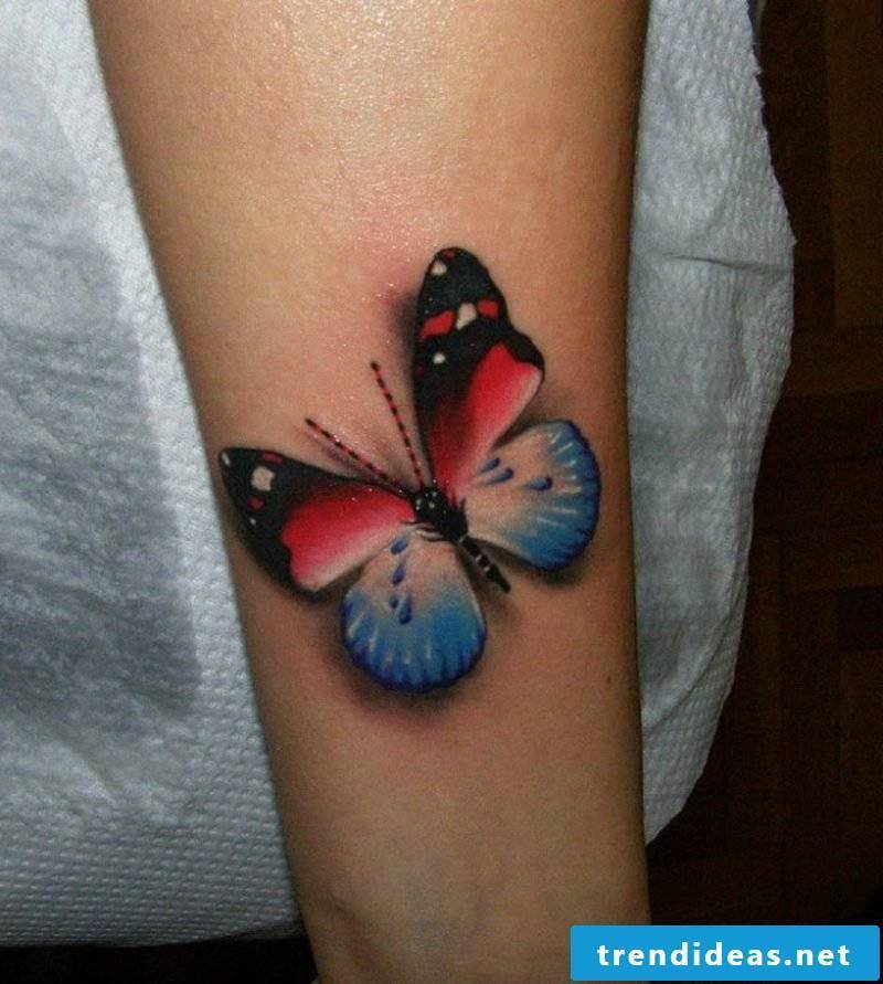 Butterfly red and blue interesting tattoos