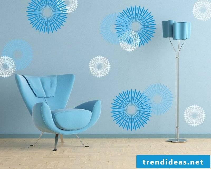 wall design living room ideas blue color