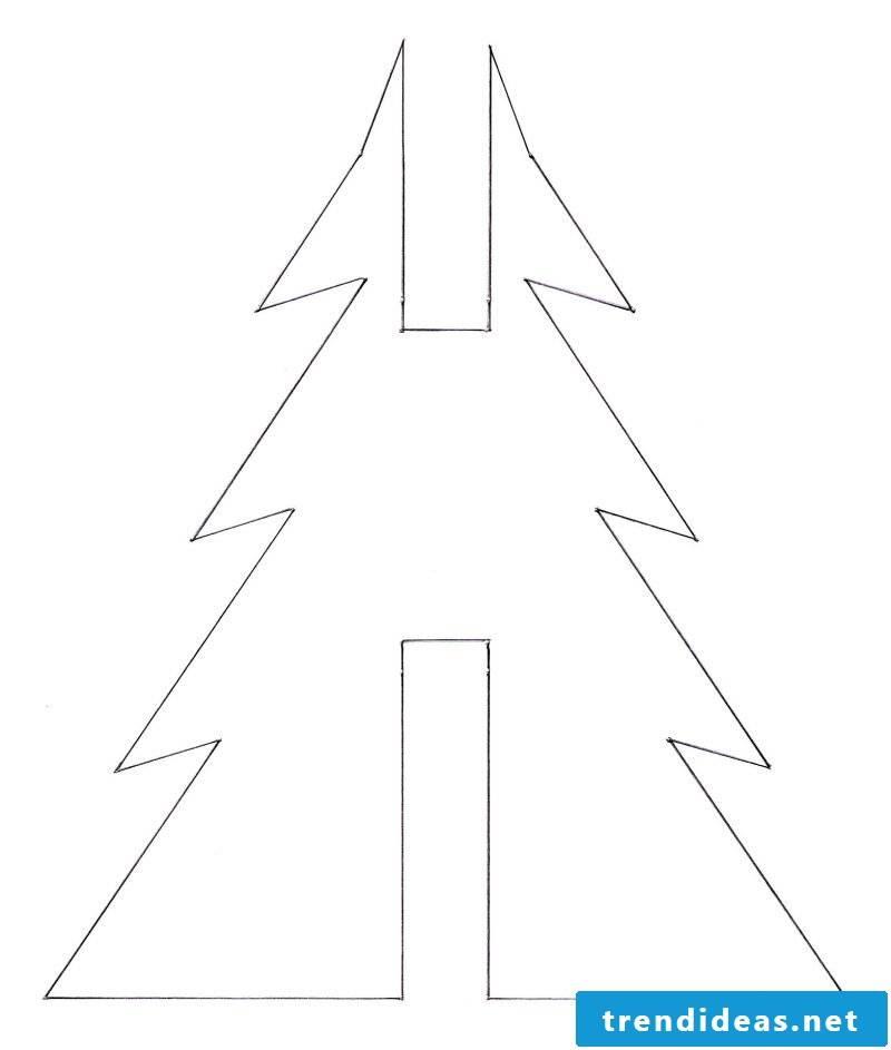 Christmas motives for printing template Christmas tree folding
