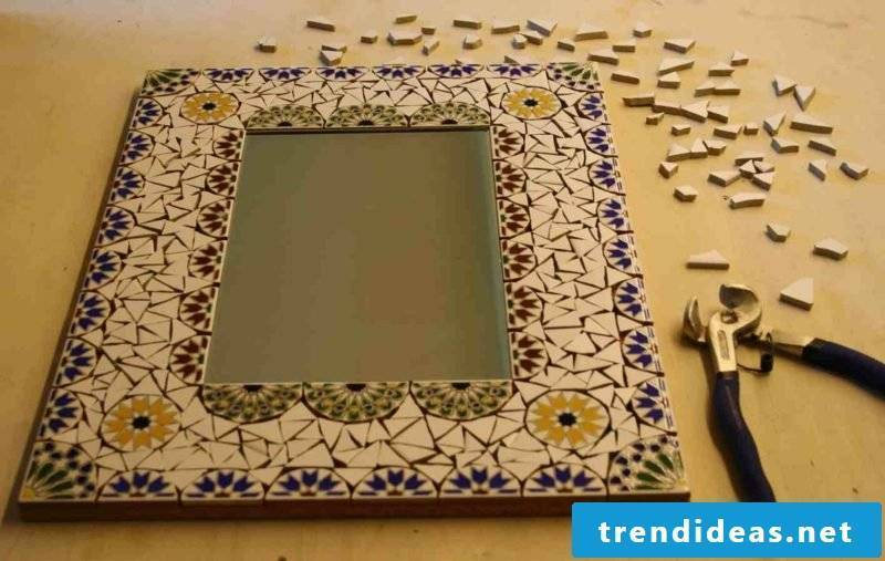 Mirror frame decorated with mosaic