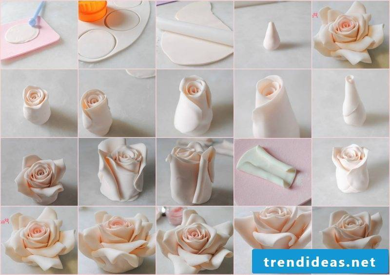 Motif cakes themselves make rose from fondant