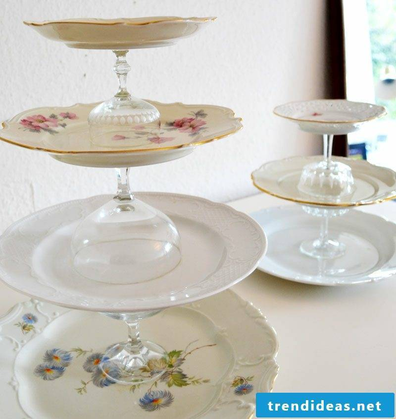 Etagere make porcelain plates and glasses