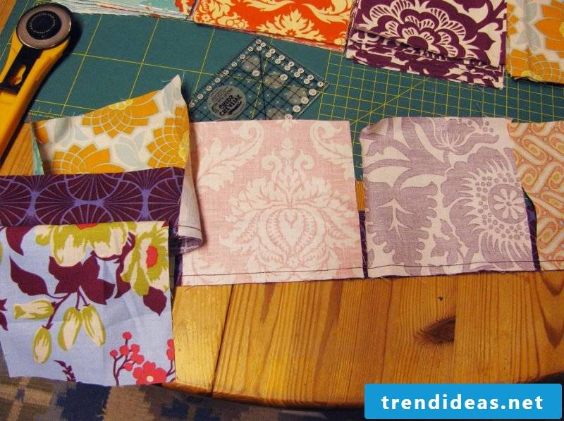 Patchwork blanket sewing instruction