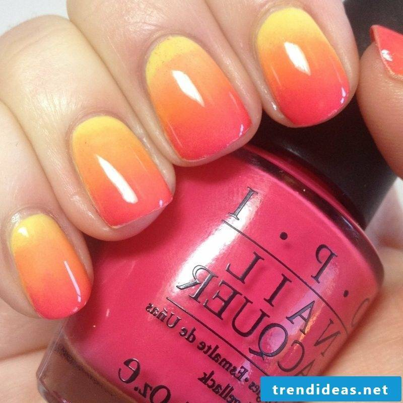 Nail art ombre red, orange and yellow
