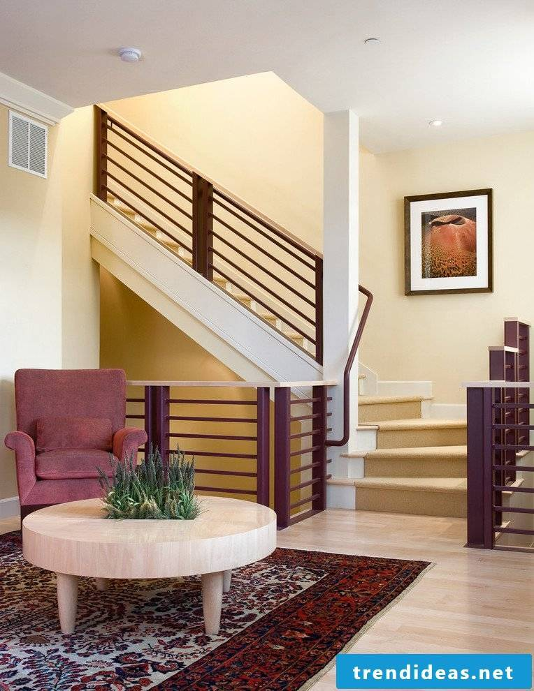 Banisters themselves build from wood in the interior design