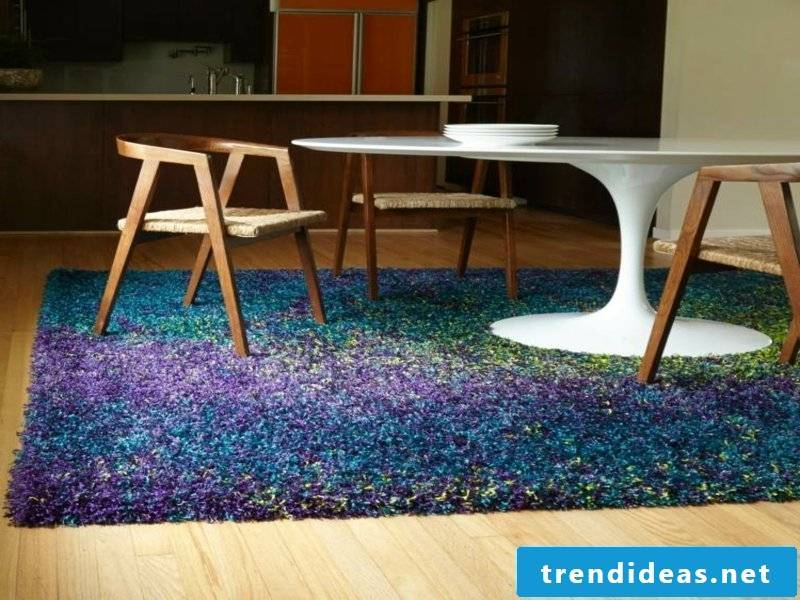 blue ombre dream carpet in the dining room