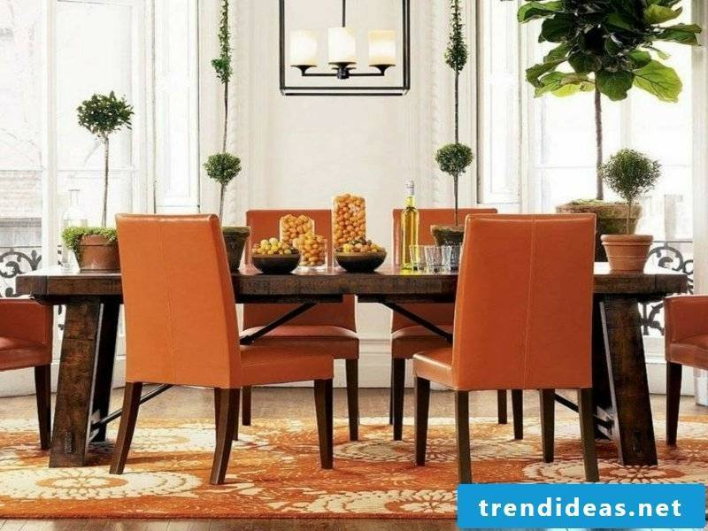 orange colors on the dream carpet in the dining room