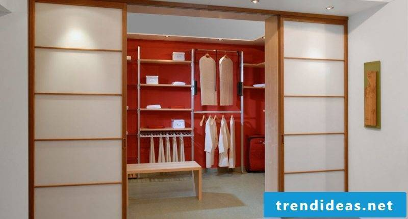 Wardrobe systems with glass doors