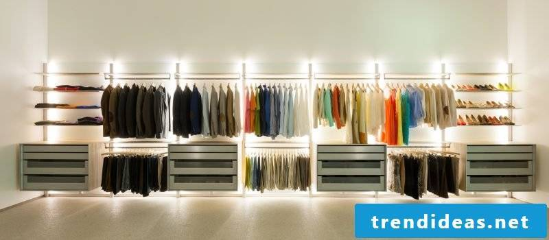 Wardrobe systems with lighting