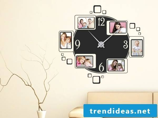 Wall clock with family photos
