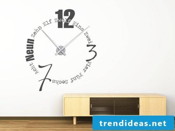 The words can also show the time in the interior design