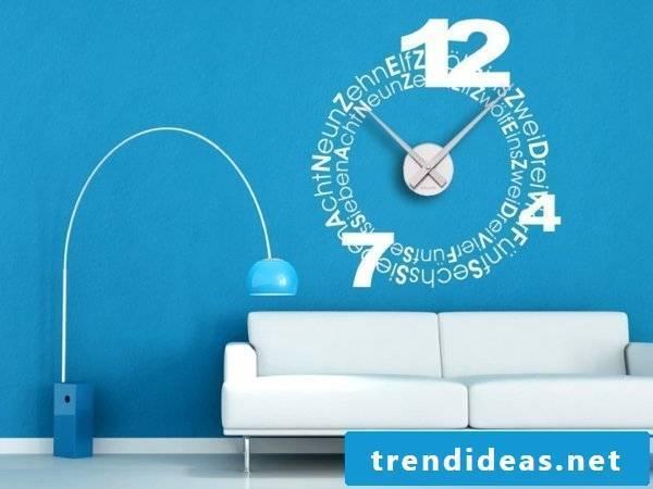 Wall clocks in the interior design